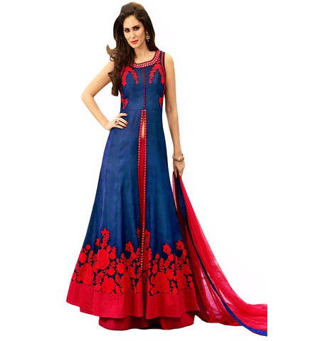 Navy Blue Color Banglori Semi Stitched Gown  - GOWN00114