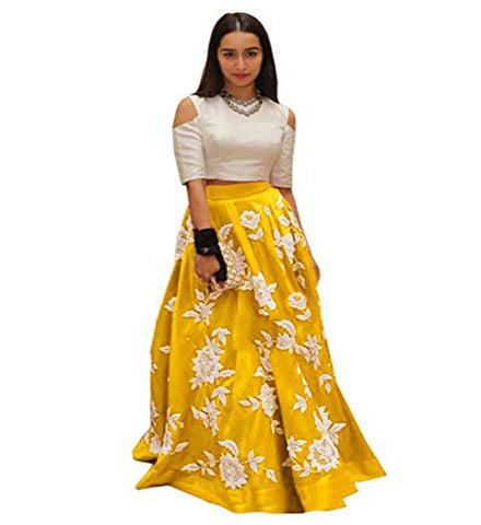 Yellow Color Banglori Silk Semi Stitched Gown  - GOWN00162
