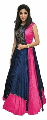 Pink Color Taffeta Silk Semi Stitched Gown  - GOWN00165