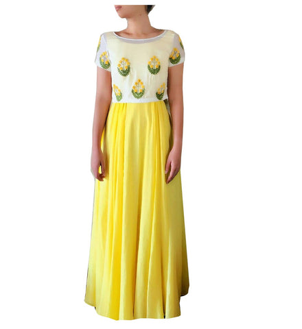 Yellow Color Georgette Semi Stitched Gown  - GOWN00179