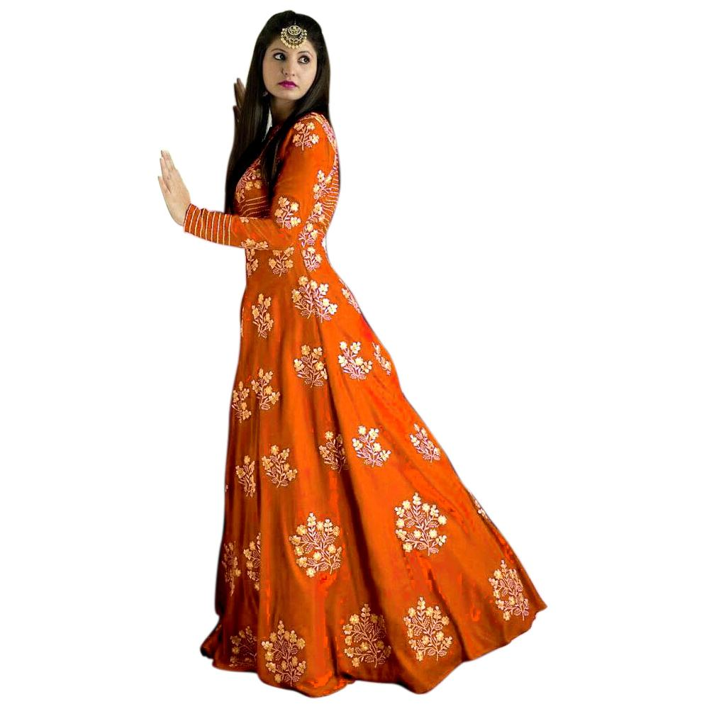Buy Orange Color Tafetta Silk Semi Stitched Gown