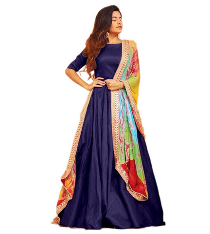 Navy Blue Color Tafetta Silk Semi Stitched Gown  - GOWN00209