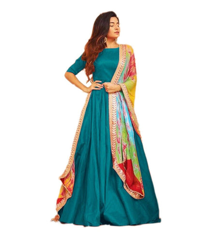 Sea Green Color Tafetta Silk Semi Stitched Gown  - GOWN00210