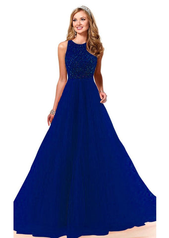 NavyBlue Color Soft Net Semi Stitched Gown - GOWN00215