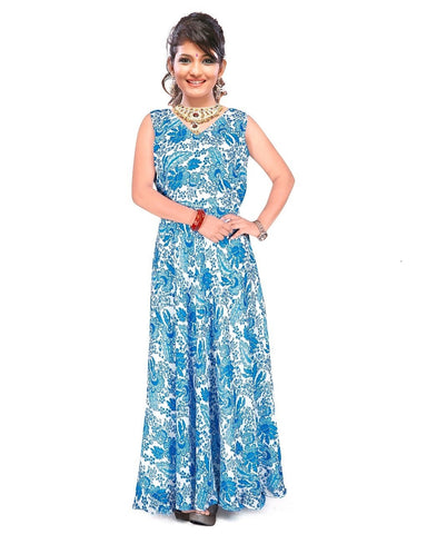 Sky Blue Color Georgette Stitched Gown  - GOWN00241