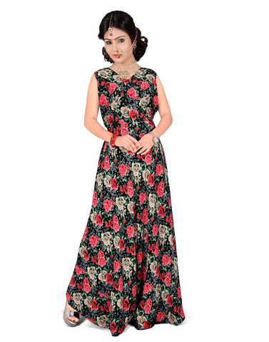 Red & Black Color Georgette Stitched Gown  - GOWN00243