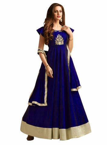 Blue Color Taffeta Silk Semi Stitched Gown  - GOWN00249