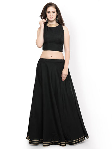 Black Color Banglori Semi Stitched Gown - GOWN00255