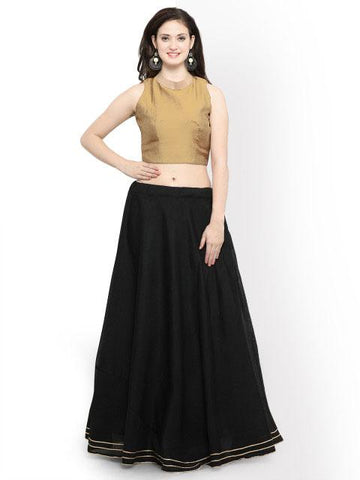 Gold And Black Color Banglori Semi Stitched Gown - GOWN00256