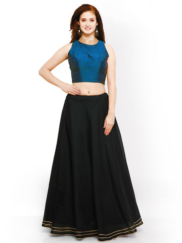 Blue And Black Color Banglori Semi Stitched Gown - GOWN00257