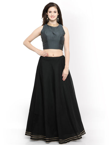 Grey And Black Color Banglori Semi Stitched Gown - GOWN00258