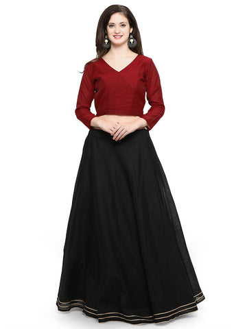 Maroon And Black Color Banglori Semi Stitched Gown - GOWN00259