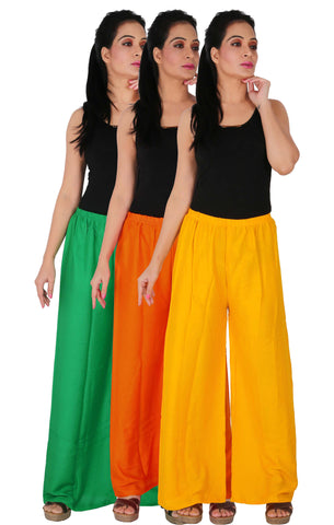 Pack Of 3 Rayon Palazzos - GOY