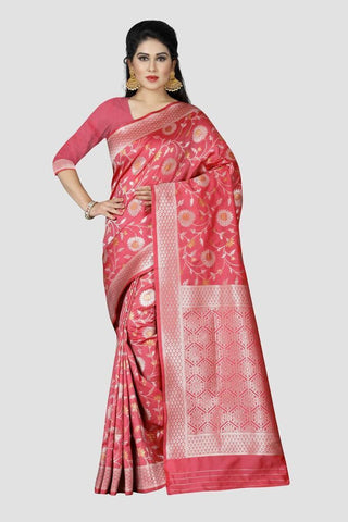 Baby Pink Color Banarasi Silk Women's Zari Work Saree - GP186