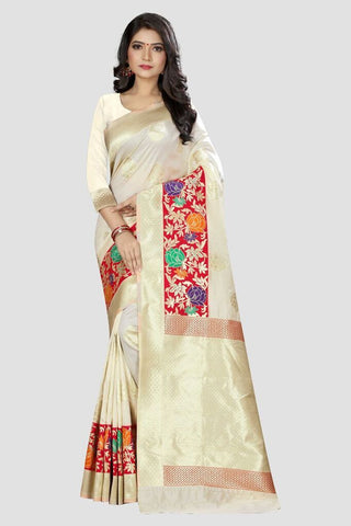 White Color Banarasi Silk Women's Zari Work Saree - GP201