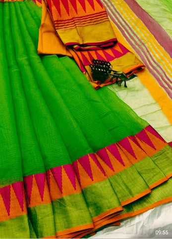 Green Color Kota Doriya Saree - GREEN-LAXMINARAYAN