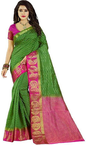 Green and Pink Color Kanjivaram Silk Saree - GREEN PINK-1