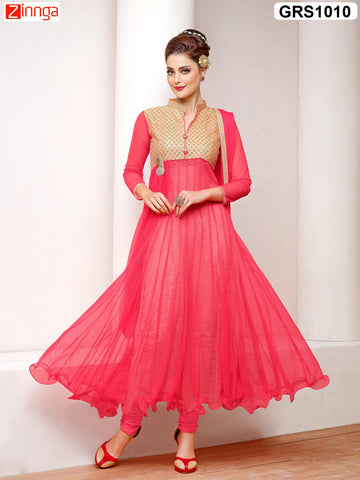 Red  Color Semistitched Salwar - GRS1010