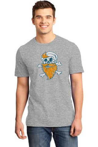 Grey Color Cotton Men's T-Shirt  - GRY-160-CT-Beard-Skull