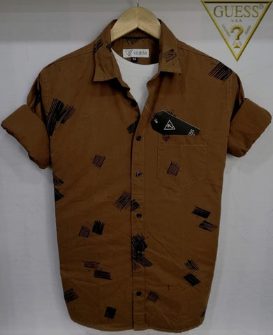 Brown Color Pure Cotton Men's Shirt - GS-02