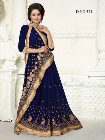 Navy Color Georgette Saree - GS-321