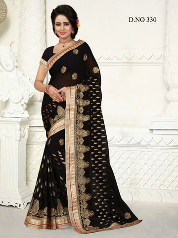 Black  Color Georgette Saree - GS-330