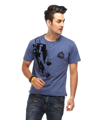 Blue Color Cotton Men T-Shirt - GUN-Blue