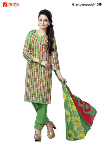 MINU FASHION- Women's Beautiful Multi Color Cotton Un Stitched Salwar Kameez-Glamourspecial-1006