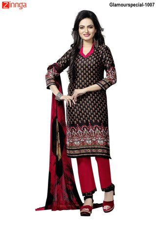 MINU FASHION- Women's Beautiful Black Color Cotton Un Stitched Salwar Kameez-Glamourspecial-1007