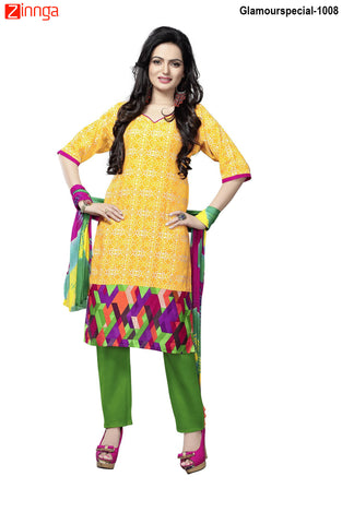 MINU FASHION- Women's Beautiful Yellow Color Cotton Un Stitched Salwar Kameez-Glamourspecial-1008