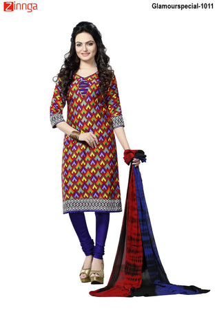 MINU FASHION- Women's Beautiful  Multi Color Cotton Un Stitched Salwar Kameez-Glamourspecial-1011