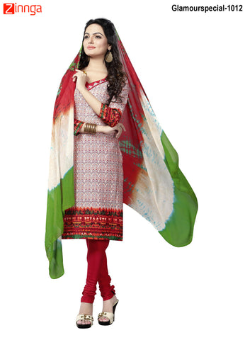 MINU FASHION- Women's Beautiful  Multi Color Cotton Un Stitched Salwar Kameez-Glamourspecial-1012