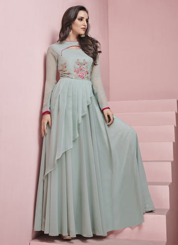 Light Grey Color Apple Georgette Stitched Gown - Glamup-19007