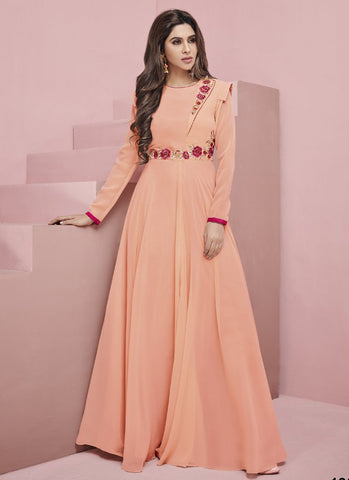 Orange Color Apple Georgette Stitched Gown - Glamup-19008