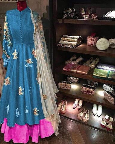 Blue Color Taffeta Silk Stitched Lehenga - Goldy-Lehenga