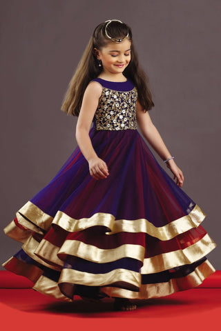 Violet and Red Corlor Taffet Silk Stitched Gown - Gown-101