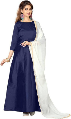 NavyBlue Color Tapeta Silk SemiStitched Gown - Gown Pian Nevyblue