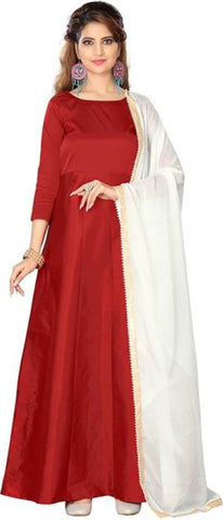 Red Color Tapeta Silk SemiStitched Gown - Gown Pian Red