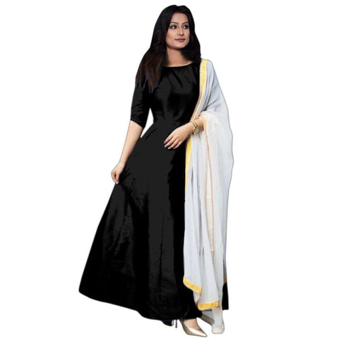 Black Color Tapeta Silk SemiStitched Gown - Gown Pian black