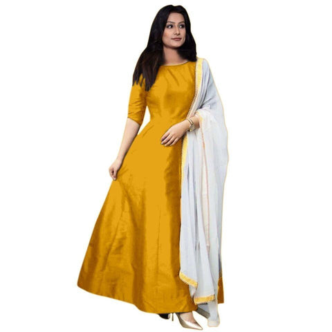 Yellow Color Tapeta Silk SemiStitched Gown - Gown Pian yellow