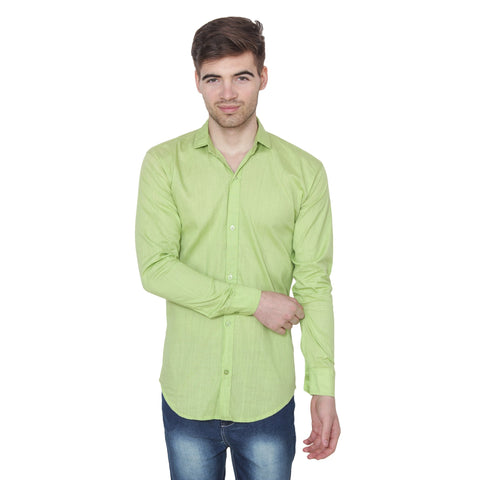 Green Color Cotton Blend Slim Fit Shirts - Green-shirtsNew