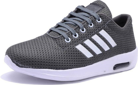 Grey Color Mesh Running Shoe - Grey4Strip