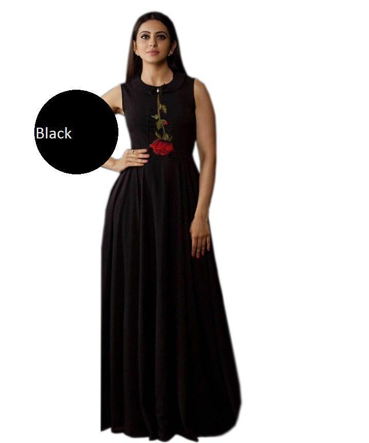 Buy Black Color Heavy Rayon Stitched Gown