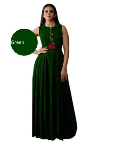 Green Color Heavy Rayon Stitched Gown  - Gulabo-Green
