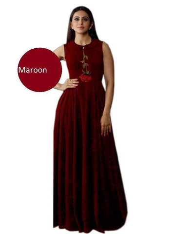 Maroon Color Heavy Rayon Stitched Gown  - Gulabo-maroon