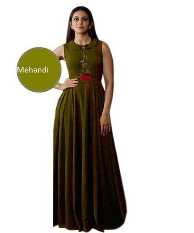 Mehandi Color Heavy Rayon Stitched Gown  - Gulabo-mehandi