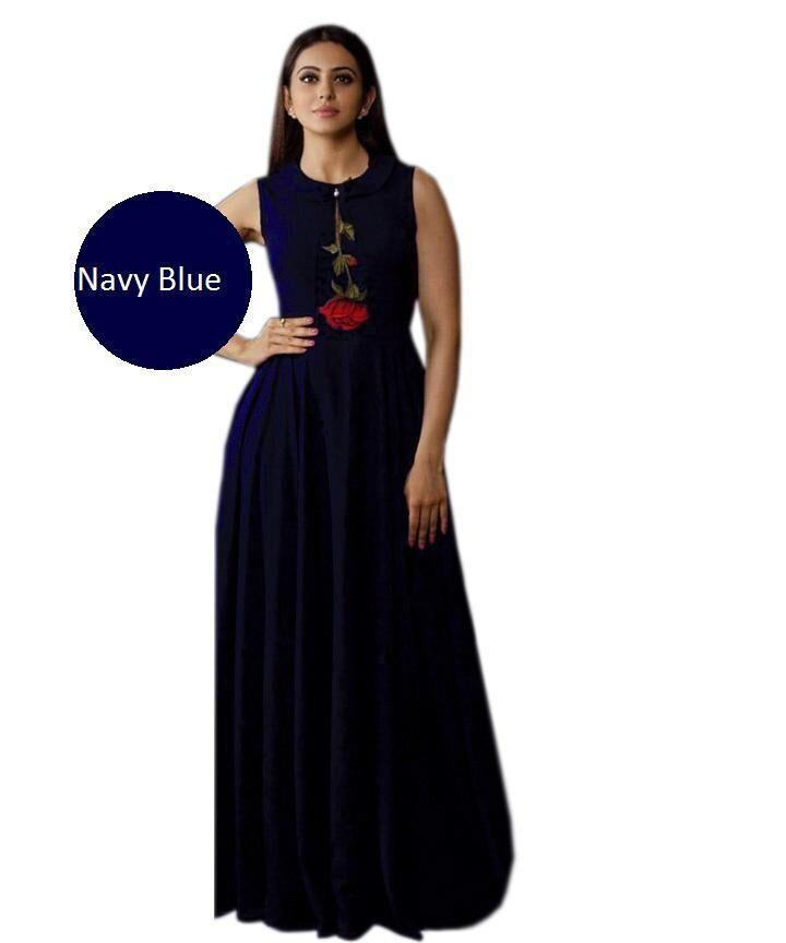 Buy Navy Blue Color Heavy Rayon Stitched Gown