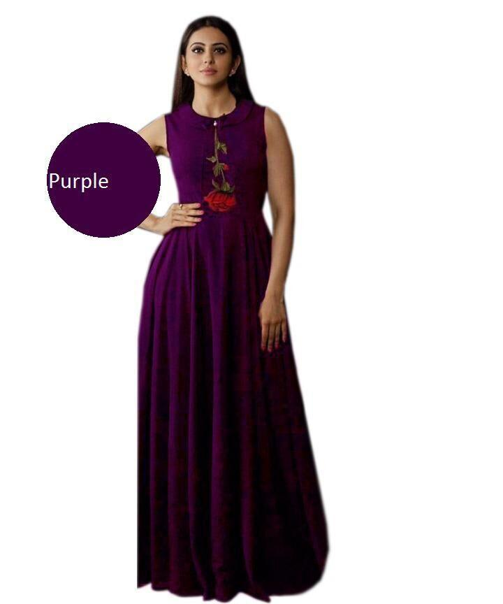 Buy Purple Color Heavy Rayon Stitched Gown