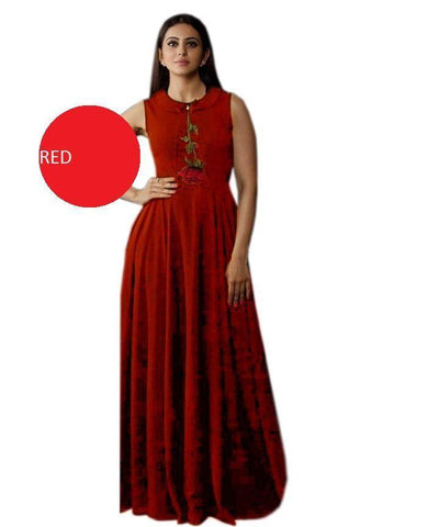 red Color Heavy Rayon Stitched Gown  - Gulabo-red