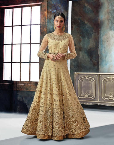 Beige Color Butterfly Net Semi Stitched Salwar - Gulnaaz-7071